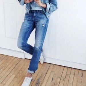 Madewell Slim Boyfriend Distressed Splatter Jeans